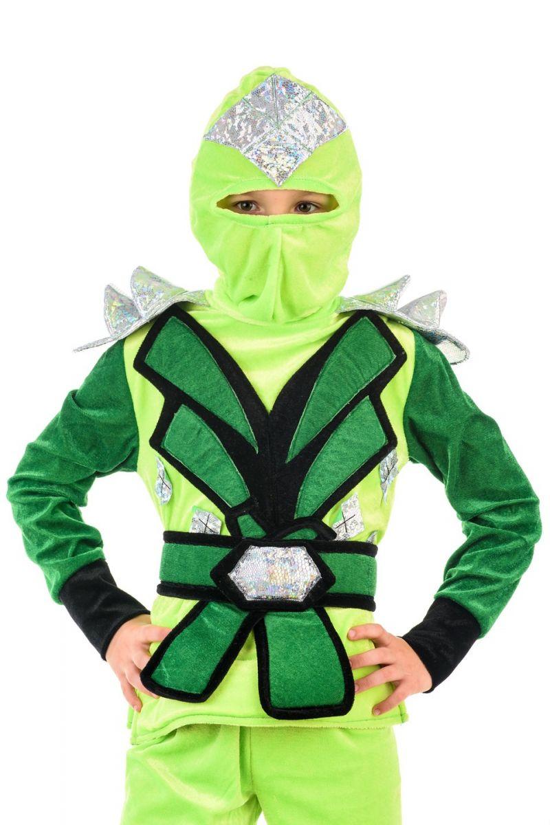 Масочка - «Ниндзяго мальчик зеленый» карнавальный костюм для мальчика / фото №1372