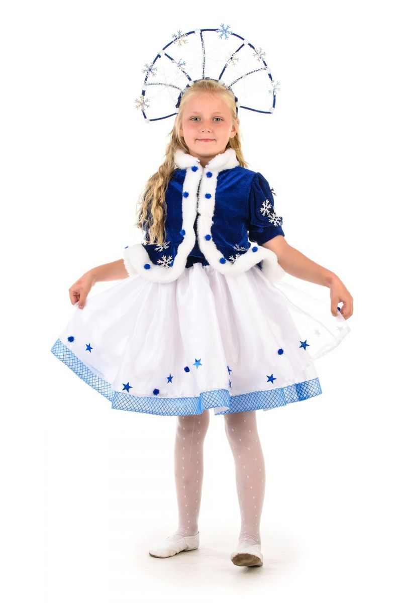 Снегурочка «Морозко» с короной карнавальный костюм для девочки