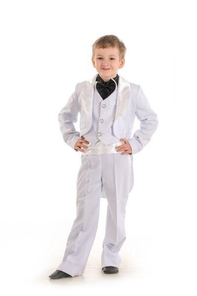Белый фрак 130-140 нарядный костюм для мальчика