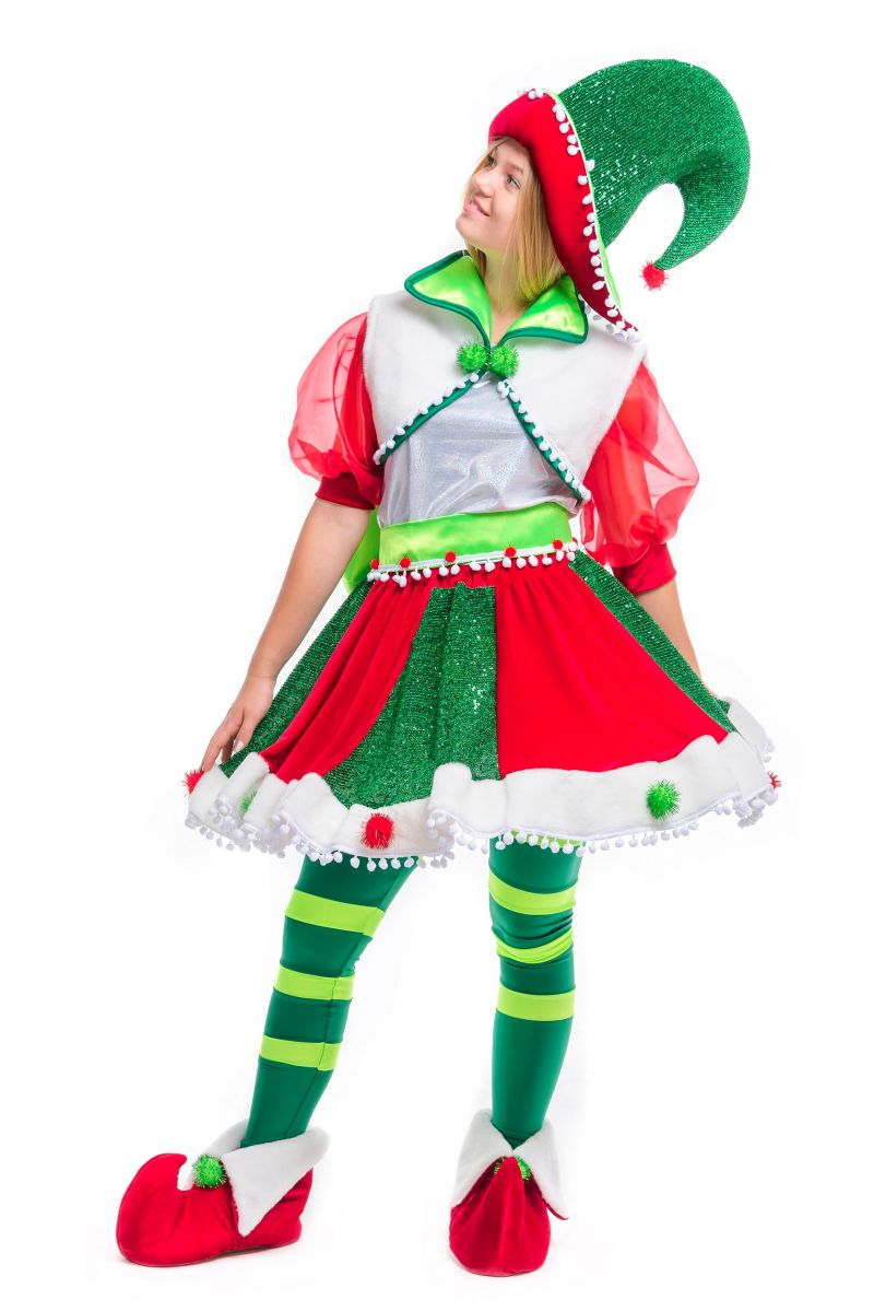 Масочка - «Рождественский Эльфийка» карнавальный костюм для аниматора / фото №2489