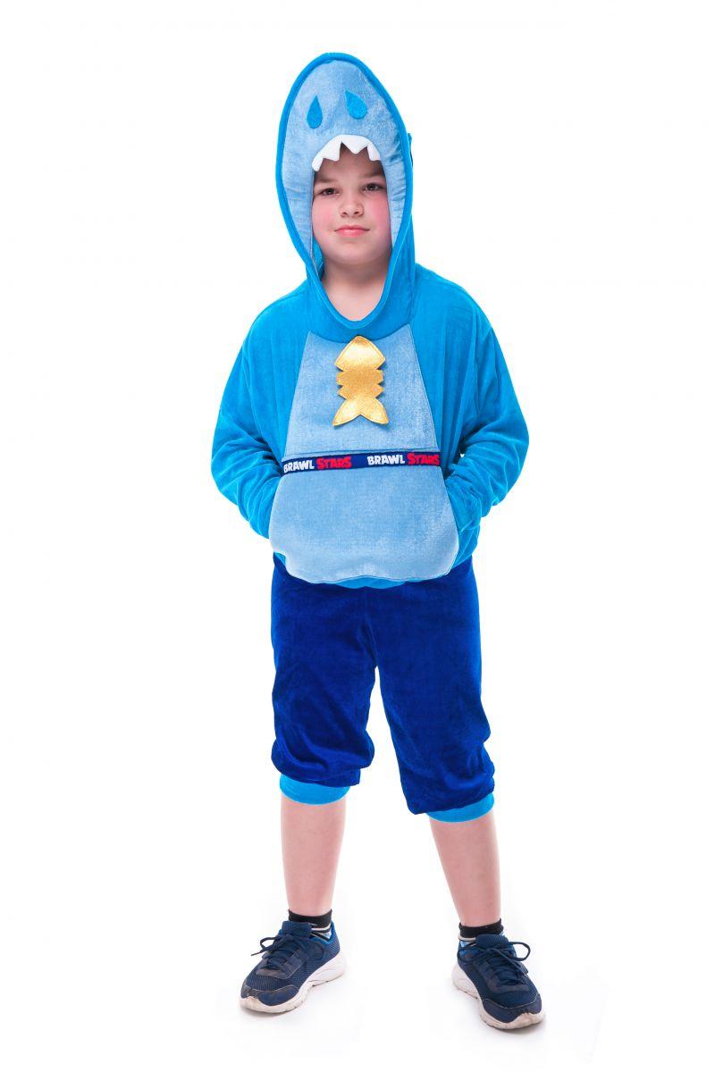 Масочка - Леон Акула «Brawl Stars» карнавальный костюм для мальчика / фото №2732