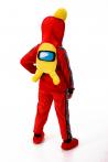 Красный AmongUs «Амонг Ас» карнавальный костюм для детей - 3007