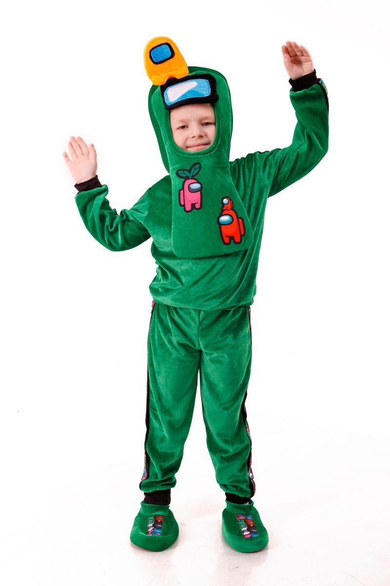 Зеленый AmongUs «Амонг Ас» карнавальный костюм для детей