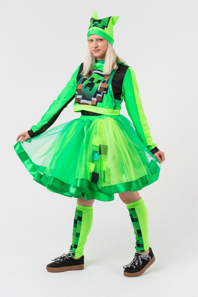 Крипер Девочка в юбке «Minecraft» карнавальный костюм для аниматоров