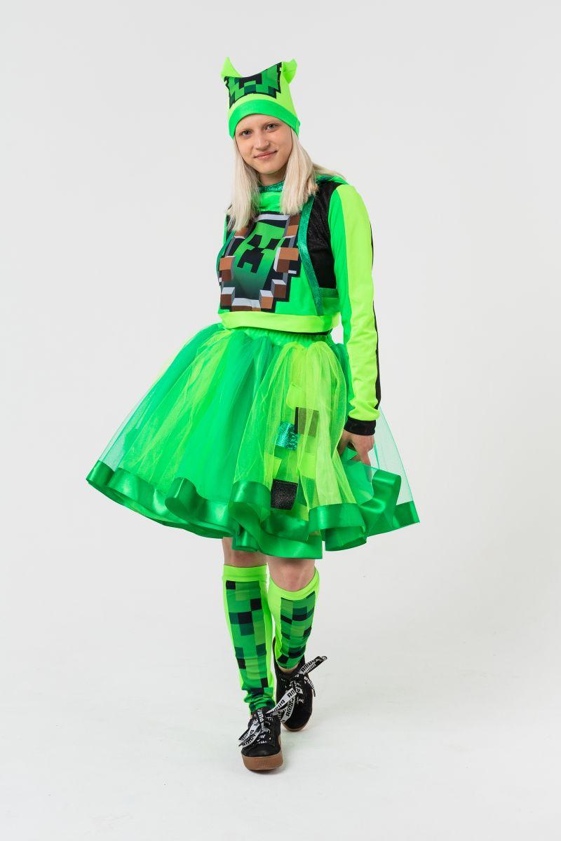 Масочка - Крипер Девочка в юбке «Minecraft» карнавальный костюм для аниматоров / фото №3162