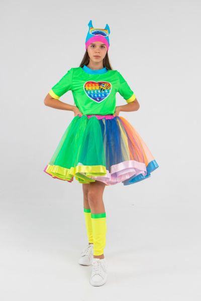 Поп Ит Девчонка зеленый «Pop it girl» карнавальный костюм для аниматоров